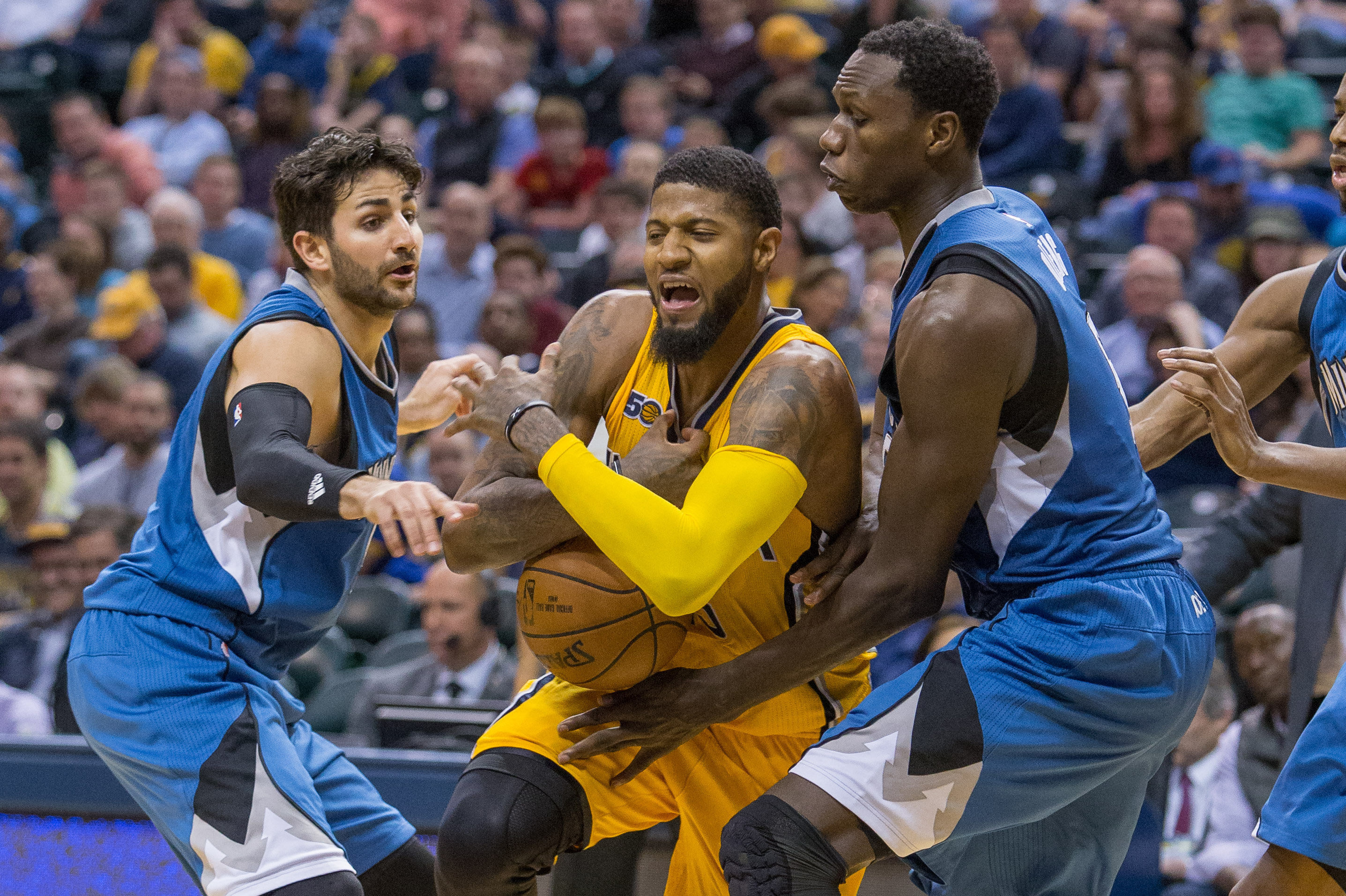 Philadelphia 76ers fans should root against indiana pacers mar 28 2017 indianapolis in usa indiana pacers forward paul george 13 is fouled by minnesota timberwolves forward gorgui dieng 5 in the second half voltagebd Choice Image