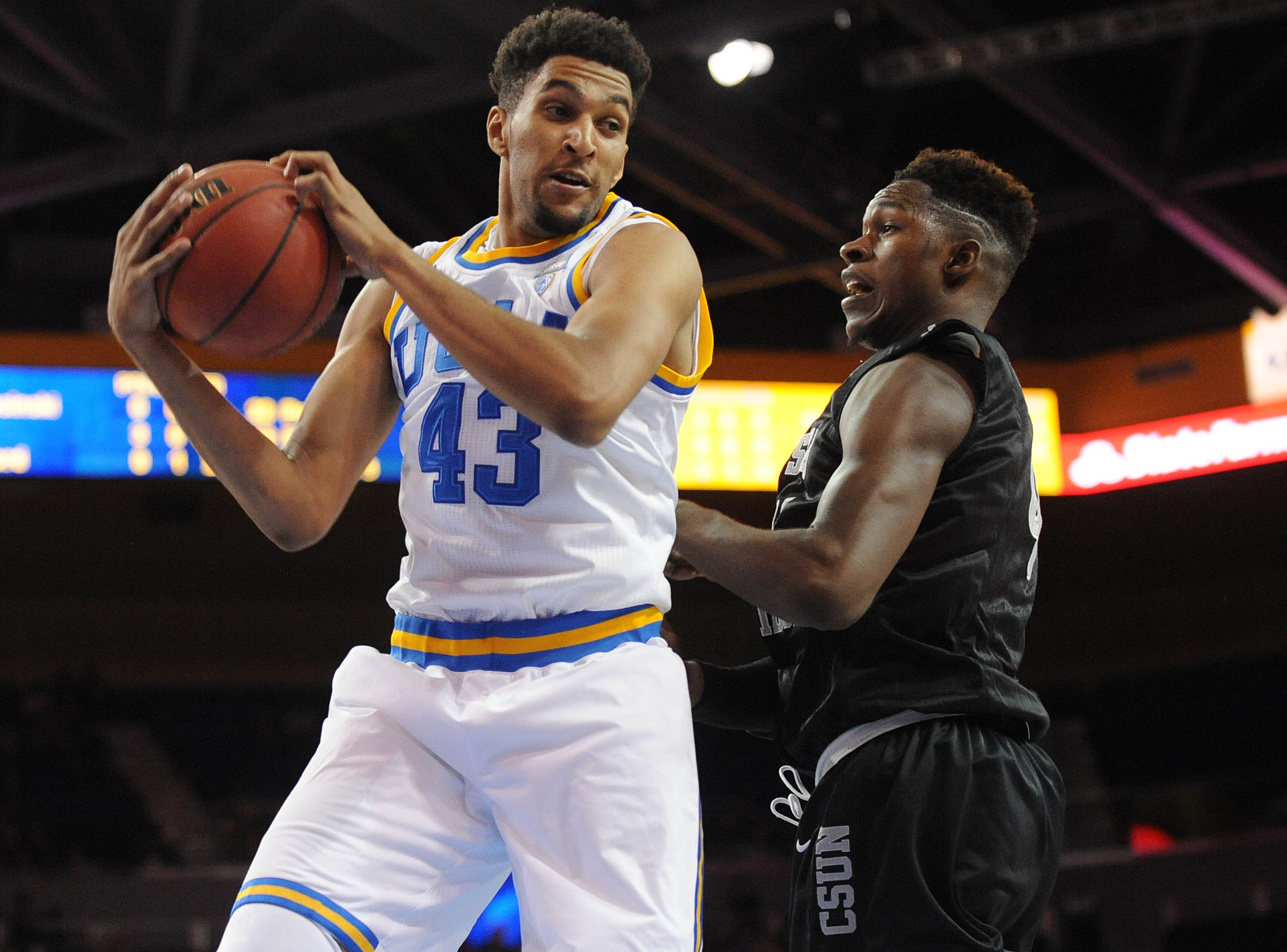 November 29 2015 Los Angeles CA USA UCLA Bruins Guard Jonah Bolden 43 Grabs A Rebound Against CSU Northridge Matadors During The First Half At Pauley
